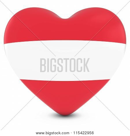 Love Austria Concept Image - Heart Textured With Austrian Flag
