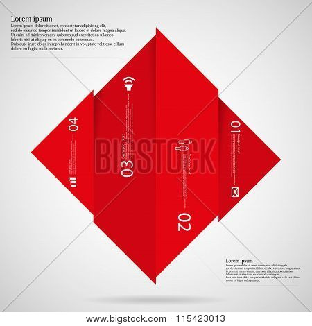 Infographic Template With Rhombus Shape Divided To Four Red Parts