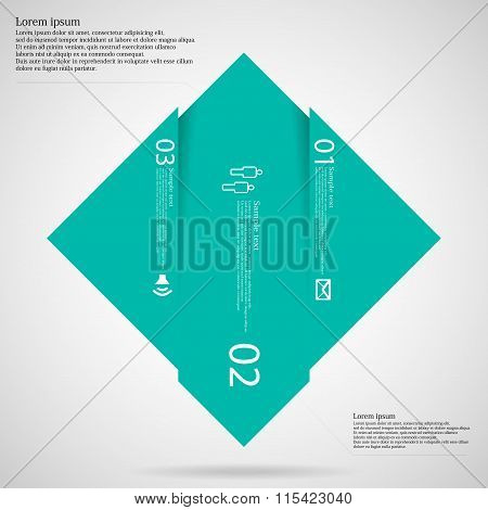Infographic Template With Rhombus Shape Divided To Three Green Parts