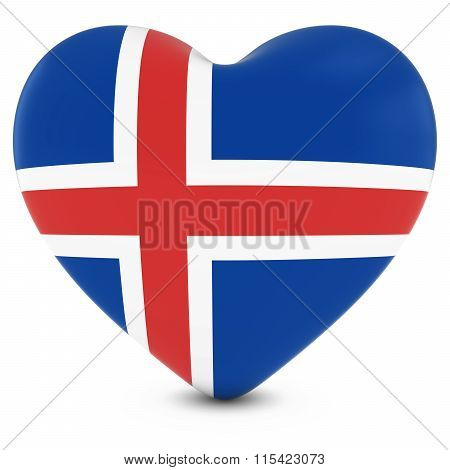 Love Iceland Concept Image - Heart Textured With Icelandic Flag