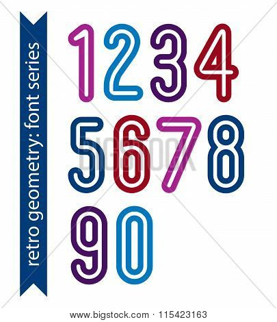 Bright Poster Classic Style Rounded Bold Numbers. Ordinary Vector Numeration For Graphic, Print Or W