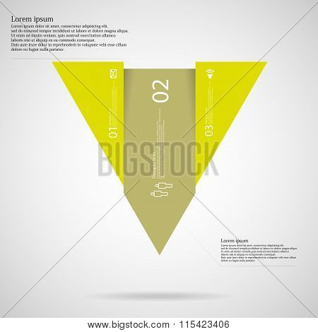 Infographic Template With Triangle Shape Divided To Three Green Parts