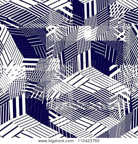 Seamless Pattern With Parallel Lines And Geometric Elements, Blue Dark Infinite Mosaic Textile