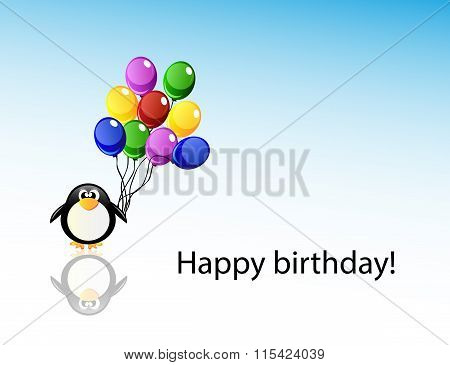 Vector Cartoon Penguin With Balloons