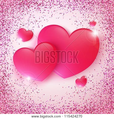 Pink Glossy Heart, Sequins, Valentine's Day