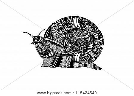 Hand drawn doodle vector outline snail illustration decorated with abstract ornaments. Abstract mobo
