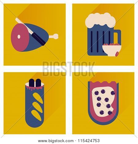 Vector set flat icons with long shadow snacks for party