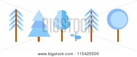 Vector Set Of Winter Trees