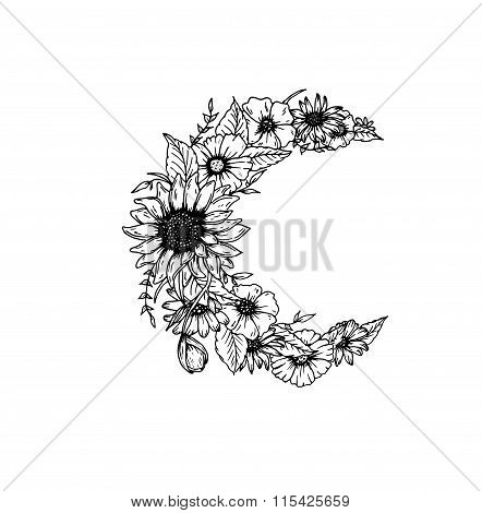 Beautiful flowers and leaves decorated crescent moon on white background