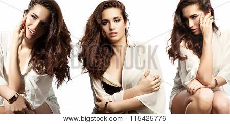 Collage Set Of Portraits Of A Woman With Long Thick Dark Hair On A White Background