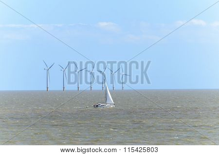 Sailing boat and wind farm