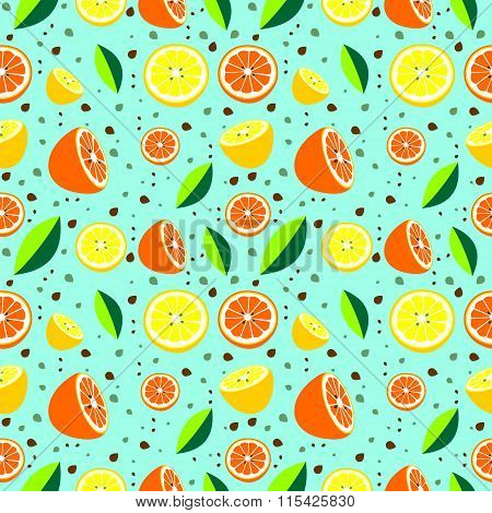 Seamless pattern with elements of citrus fruits on a blue background