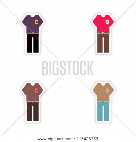 Set of paper stickers on white background trousers and T-shirt