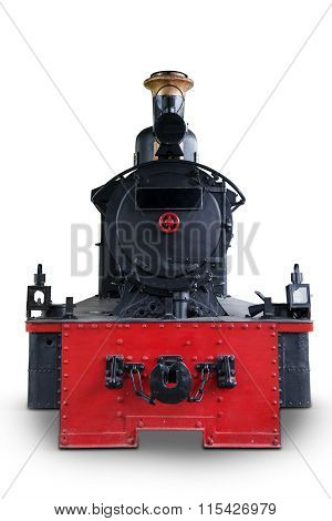 Antique Steam Locomotive Isolated On White