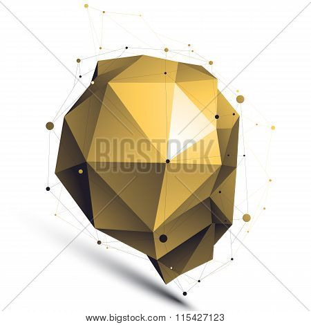 Gold 3D Vector Abstract Design Object, Polygonal Complicated Figure With Lines Mesh Isolated On Whit