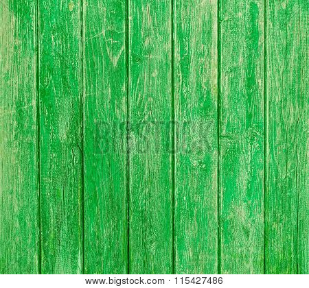 Green Pea  Wooden Planks Background - Colorful Outer Fence Deteriorated By Time - Closeup Of Wood Bo