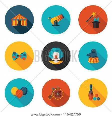 Flat Icons Set Circus