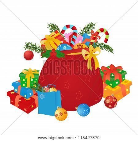 Santas Sack With Gifts And Boubles.