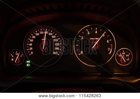 Close Up Of A Car Speedometer