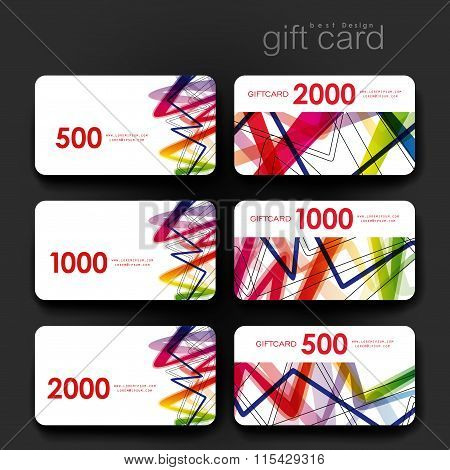 Gift coupon, discount card template with  abstract background