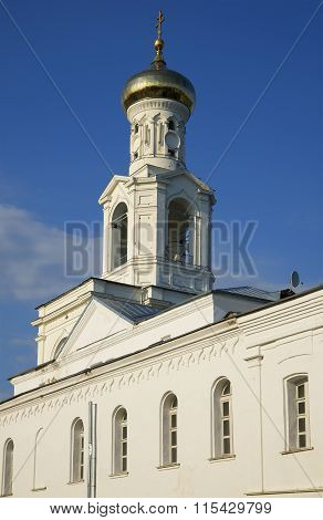 The bell tower of St. George's monastery. Veliky Novgorod