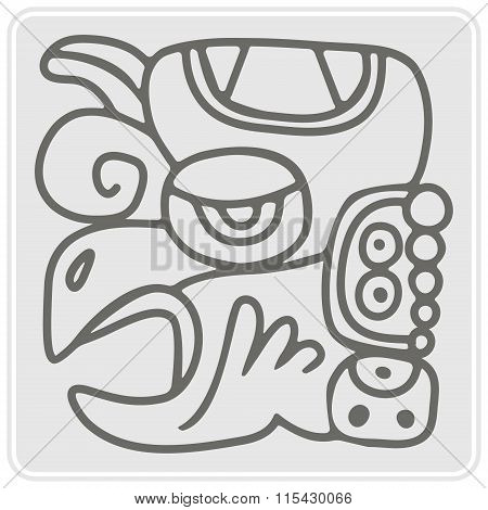 monochrome icon with glyphs of the Maya periods calendar names