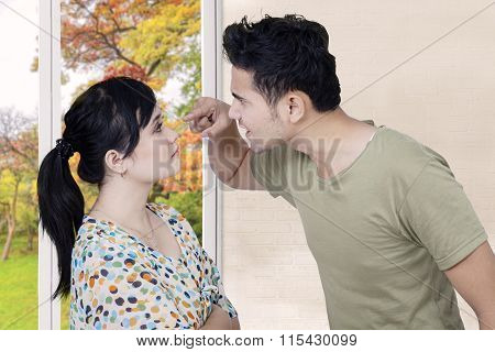 Emotional Man Screaming On His Wife