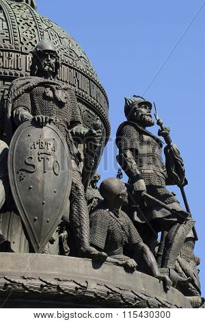 Rurik and Dmitry Donskoy . The sculptures on the monument