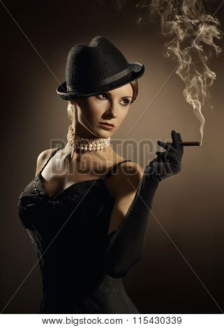 Woman Smoking Cigar Lady in Smoke Cloud Fashion Model Girl Old Retro Cigarette