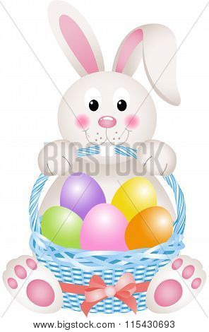 Bunny holding eggs Easter basket