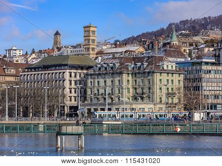 Central Square And The Muhlesteg Pedestrian Bridge In Zurich