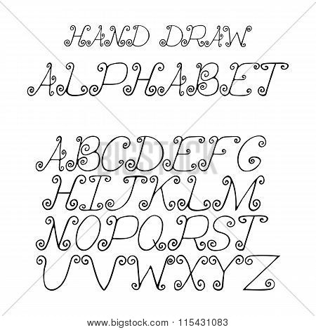 hand draw alphabet letters with curls under the classical bias