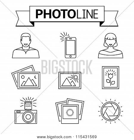 Photo and camera line icons.