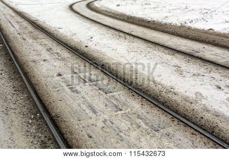 Tram Rails In Snow.