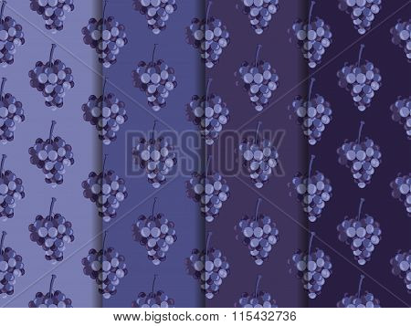Bunch Of Grapes. Set Of Seamless Patterns. Wallpapers With Grapes.