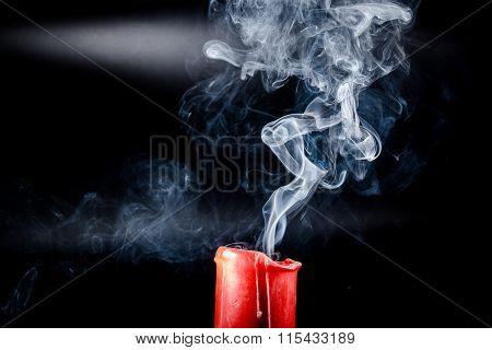 gray smoke flying upside