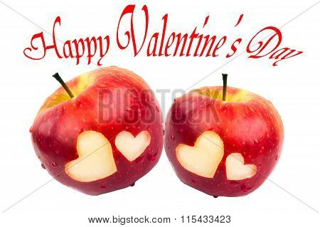 Happy Valentine's Day, two apples with hearts