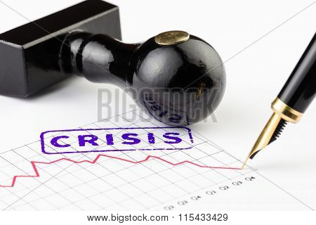 Close Up Of Word Crisis Stamped On A Graph