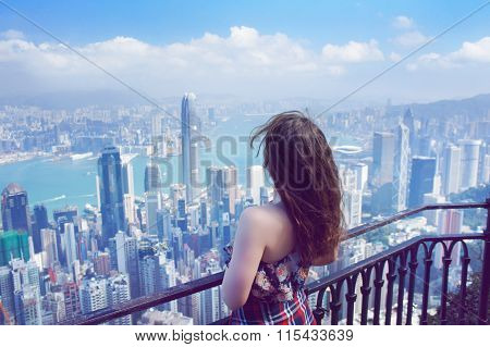 Girl Look At Hong Kong Buildings Panorama From Victoria Peak