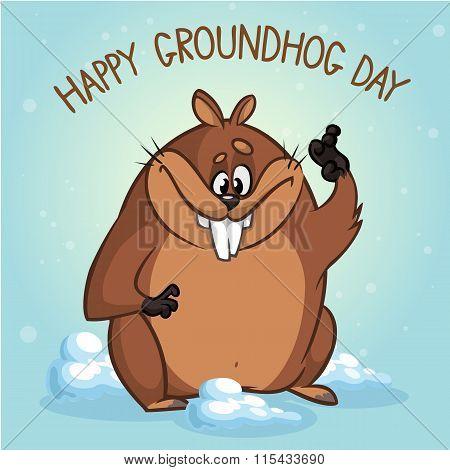 Groundhog Day. Vector illustration of groundhog waving