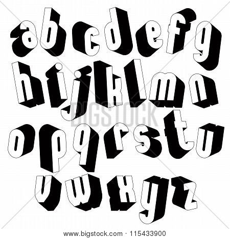 Black And White 3D Font, Single Color Simple And Bold Letters Alphabet.