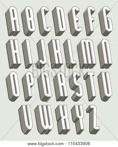 3D Font, Thin And Tall Dimensional Letters Set Made With Round Elements.