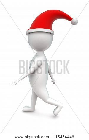 3D Man Wearing A Santa Hat And Walking Concept