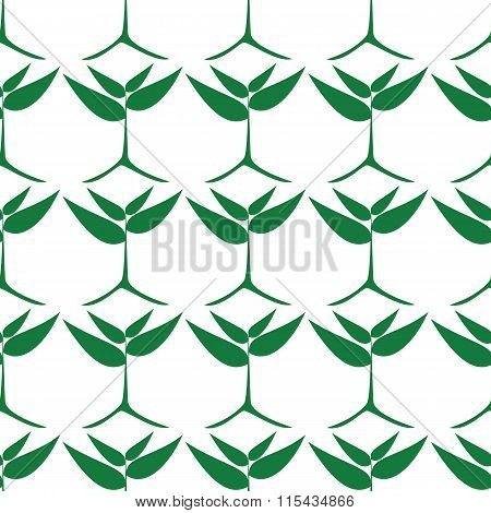 Growing Green Plants, Seamless Pattern.