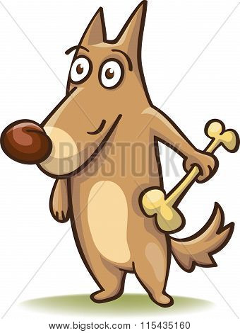Cartoon Dog With A Bone In His Hand