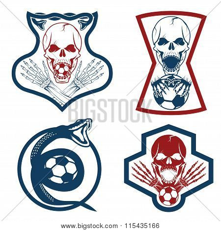 Football Team Crests Set With Snake And Skulls