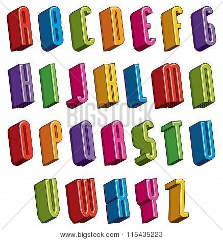 3D Font, Vector Colorful Letters, Geometric Dimensional Alphabet.