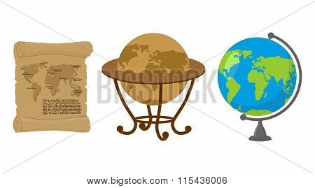 Map Of World. Set Of Map Earth. Ancient Scroll With Drawing Of Continents And Oceans. Antique Globes