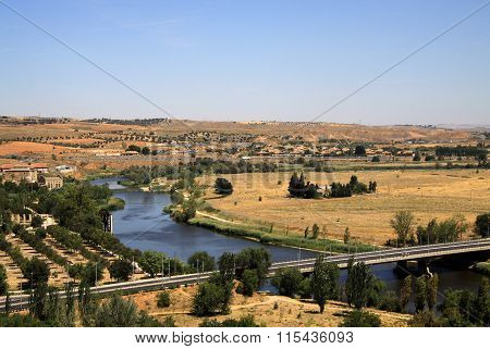 Toledo, Spain   View To River Tajo In Toledo, Spain