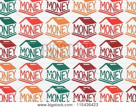 Banking concept: Money Box icons on wall background